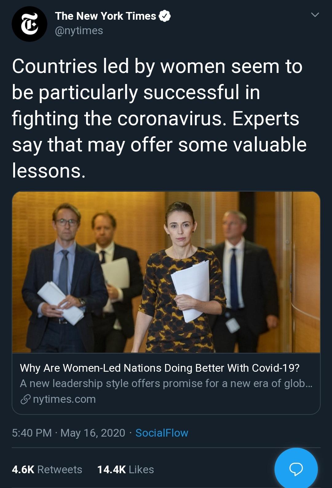 New York times female led Nations good coronavirus response fake news